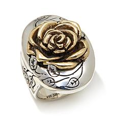 King Baby Jewelry Sterling Silver 2-Tone Rose Ring