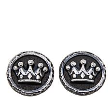 King Baby Sterling Silver Crown Coin Stud Earrings