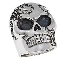 King Baby Sterling Silver Men's Koi Fish Skull Ring