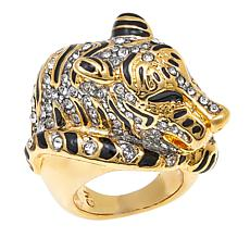 "KJL by Kenneth Jay Lane ""Fanciful Tiger"" Crystal and Enamel Ring"