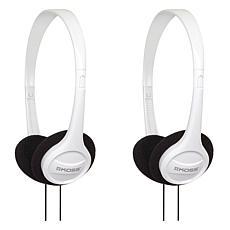Koss KPH7 2-pack Wired On-Ear Stereo Headphones - White