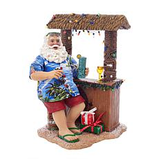 "Kurt Adler 11"" Fabriche™ Beach Santa Sitting At Tiki Bar"