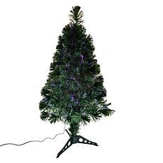"Kurt Adler 36"" Fiber Optic Green Tree with Multi-Colored LED Lights"