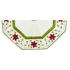 Kurt Adler Ivory Poinsettia  Tree Skirt - 54""