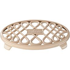 "La Cusine 10"" x 7"" Oval Cast Iron Trivet - Cream"