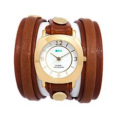 La Mer Goldtone Case Washed Brown Leather Wrap Watch