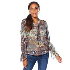 LaBellum by Hillary Scott Printed Chiffon Blouse