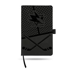 Laser-Engraved Black Notepad with Elastic Band - Sharks