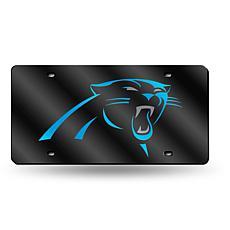 Laser-Engraved Black Plate - Carolina Panthers