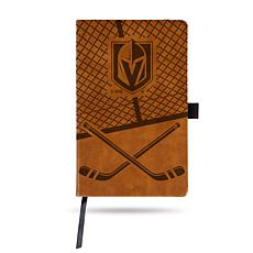 Laser-Engraved Brown Notepad with Elastic Band - Golden Knights