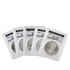 Last 5 Years 2015 to 2019 MS70 PCGS Premier Label Silver Eagle Dollars
