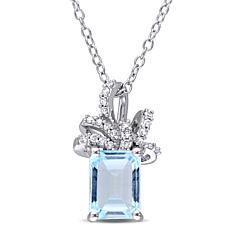 Laura Ashley 2.09ctw Blue Topaz & Diamond Drop Necklace