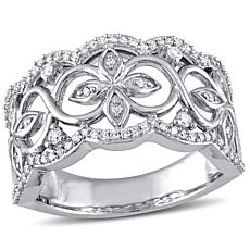 Laura Ashley .32ctw White Diamond 10K White Gold Flowering Vine Ring