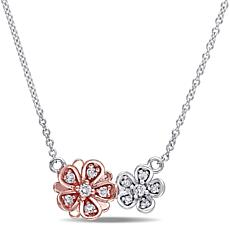 Laura Ashley Diamond 2-Tone Double-Flower 10K Necklace