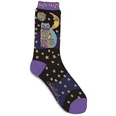 Laurel Burch Socks - Celestial Cat - Black