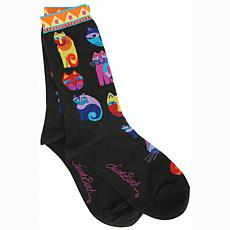 Laurel Burch Socks - Feline Festival -Black
