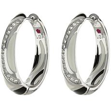 Lauren G Adams Silvertone Colored Enamel Cubic Zirconia Huggie Hoops