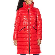 Laurier Knee-Length Quilted Coat with Hidden Hood