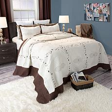 Lavish Home 3-piece Athena Embroidered Quilt Set - Full