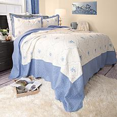 Lavish Home 3-piece Brianna Embroidered  Quilt Set - Ki