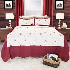Lavish Home 3pc Chloe Embroidered Quilt Set-Full/Queen