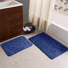 Lavish Home Coral Fleece Memory Foam Bath Mat 2pc Set