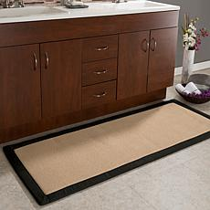 Lavish Home Faux Linen Memory Foam Extra Long Bath Mat