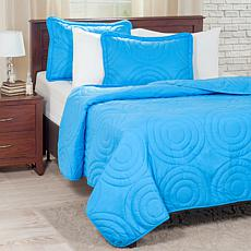 Lavish Home Solid Embossed 3-piece Quilt Set-Full/Queen