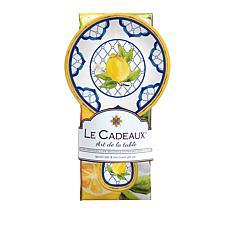 Le Cadeaux Lemon Basil Spoon Rest and Tea Towel Set