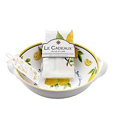 Le Cadeaux Lemon Basil Two-Handle Bowl and Tea Towel Set