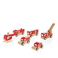 Leading Edge Wooden Fire Cars and Trucks with Gift Box