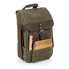Legacy by Picnic Time 2 Wine & Cheese Bag - Khaki Green with Brown