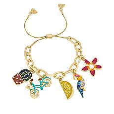 Lemon Way Enamel Novelty Charm Adjustable Bracelet