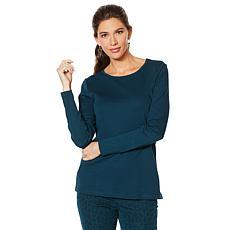Lemon Way Perfect Pima Long Sleeve Split Hem Tee - Fashion