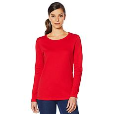 Lemon Way Perfect Pima Long Sleeve Split Hem Tee - Fashion