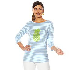 Lemon Way Perfect Pima Tropical Striped 3/4 Sleeve Tee