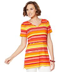 Lemon Way Striped Short Sleeve Tunic