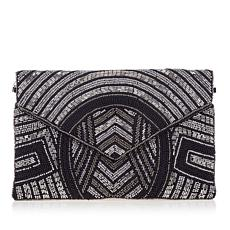 LeRegale Geo Beaded V-Flap Clutch