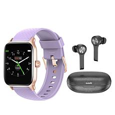 Letsfit EW1 Rose Gold Smartwatch with T13 Earbuds