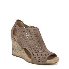 LifeStride Hinx Faux Leather Perforated Peep-Toe Wedge Sandal
