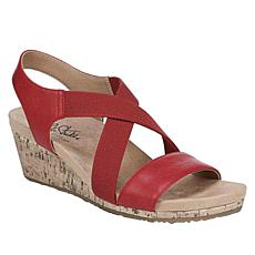 LifeStride Mexico Slingback Cork Wedge Sandal