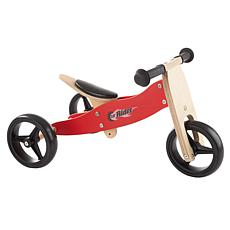 Lil' Rider 2-in-1 Wooden Balance Bike and Push Tricycle Ride-On Toy