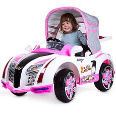 Lil' Rider Pink Ride-On Toy Car w/Collapsible Canopy & Remote Control