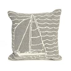 "Liora Manne Frontporch Sails 18"" Square Pillow - Grey"