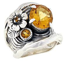 LiPaz Floral Motif Sterling Silver Citrine Ring