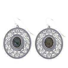 LiPaz Labradorite Scrollwork Frame Sterling Silver Drop Earrings