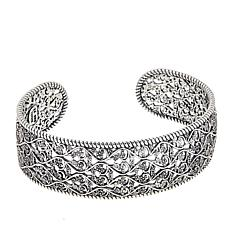 LiPaz Openwork Lacy Floral Sterling Silver Cuff Bracelet
