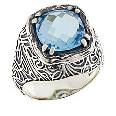 LiPaz Sterling Silver 4.5ctw Blue Topaz Ring