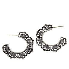 LiPaz Sterling Silver Medium Scallop Hoop Earrings