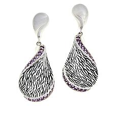 LiPaz Sterling Silver Textured Twist Amethyst Earrings